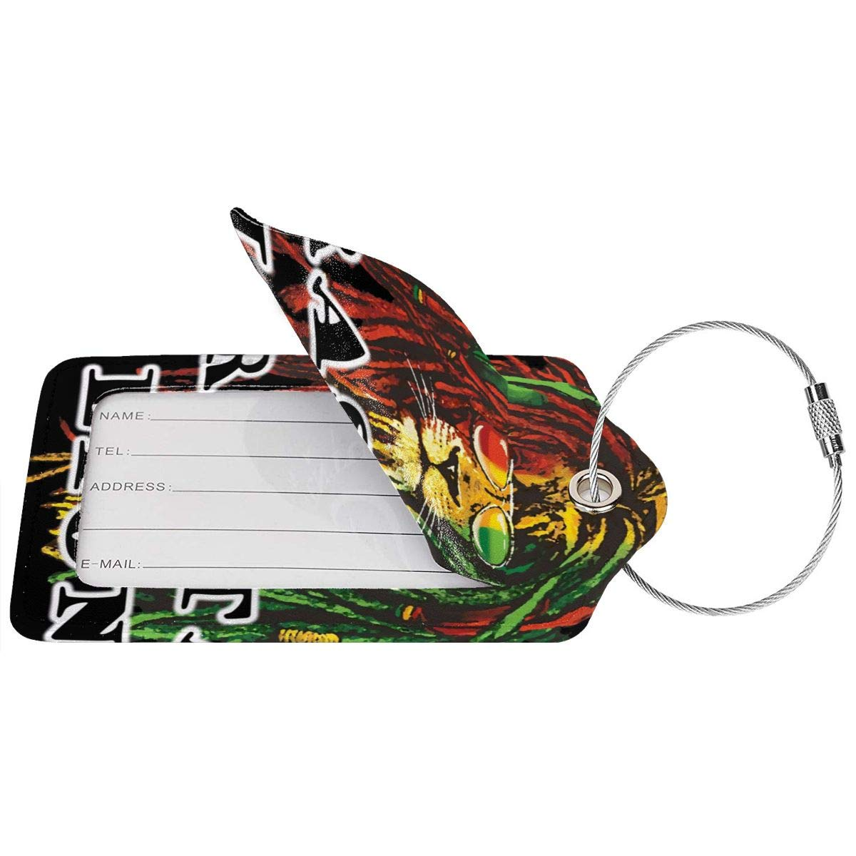 GoldK Rasta Lion Leather Luggage Tags Baggage Bag Instrument Tag Travel Labels Accessories with Privacy Cover