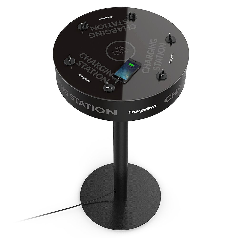 Power Table Cell Phone Charging Station w/ 12 Universal Charging Tips for All Devices + 1 Wireless Charging Pad. Perfect for Events, Bars, Offices, etc. Fully Customizable - ChargeTech (Model: TCS12)