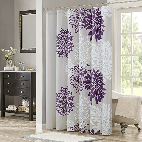 Amazon Comfort Spaces Enya Shower Curtain Purple Grey Floral Printed 72x72 Inches Home Kitchen