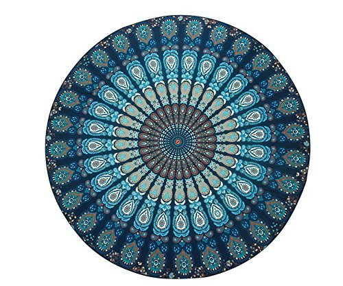 Resulzon Indian Mandala Hawaii Sunproof Round Beach Throw Tapestry Hippy Boho Gypsy Tablecloth Beach Shawl 60 Inches - Navy Blue ()