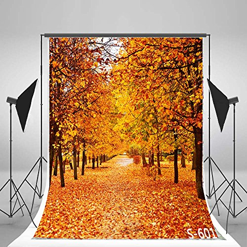 Laeacco Autumn Scenery 3x5ft Vinyl Photography Backdrop Tree and Fall Leaves View 1x1.5m Background Studio Props -