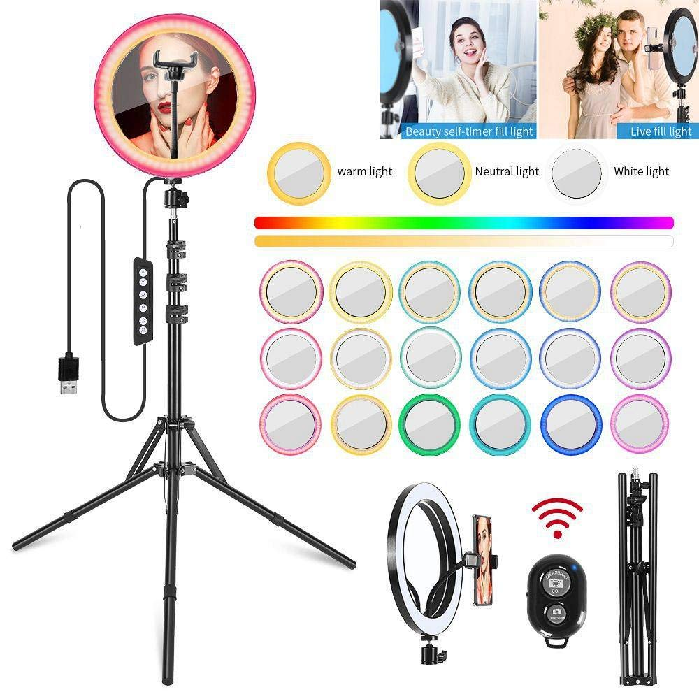 FRITHJILL Upgraded 10'' RGB LED Ring Light,with Triod Stand & Removable Mirror & Phone Holder,Bluetooth Remote Shutter Selfie Ring Light Kit by FRITHJILL