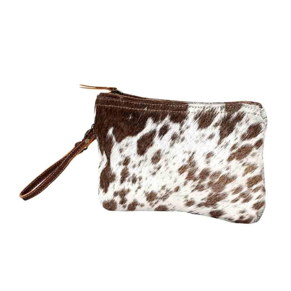 "Wristlet Handbag - Cow Hide - White & Brown Small W/Zipper top - 6""x9"" - Cloth Interior"