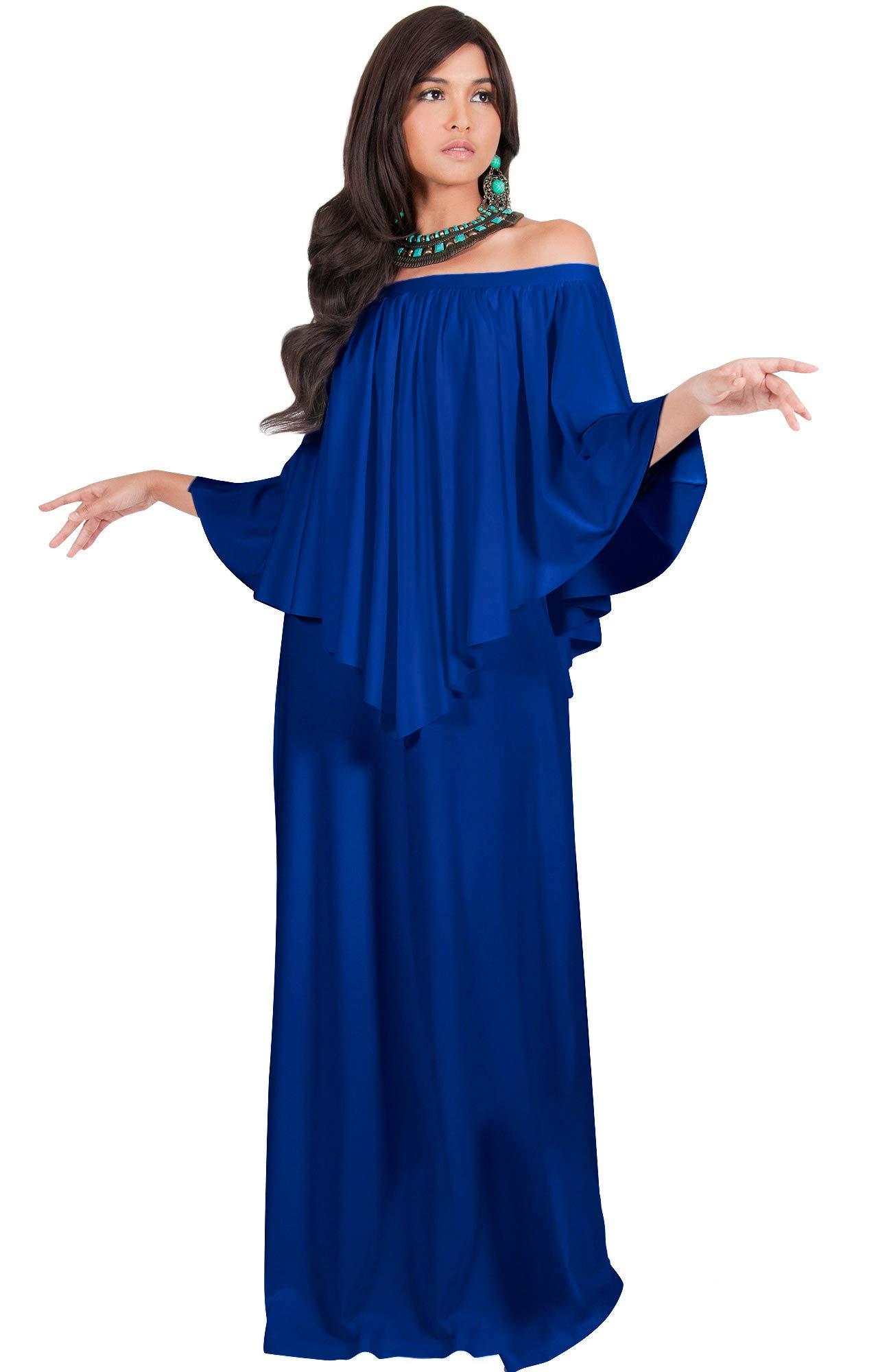 KOH KOH Plus Size Womens Long Strapless Shoulderless Flattering ...