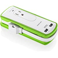 Poweradd Mini Portable Travel Surge Protector Power Strip with 2 Outlets and Dual USB Ports (S9P221AB30)