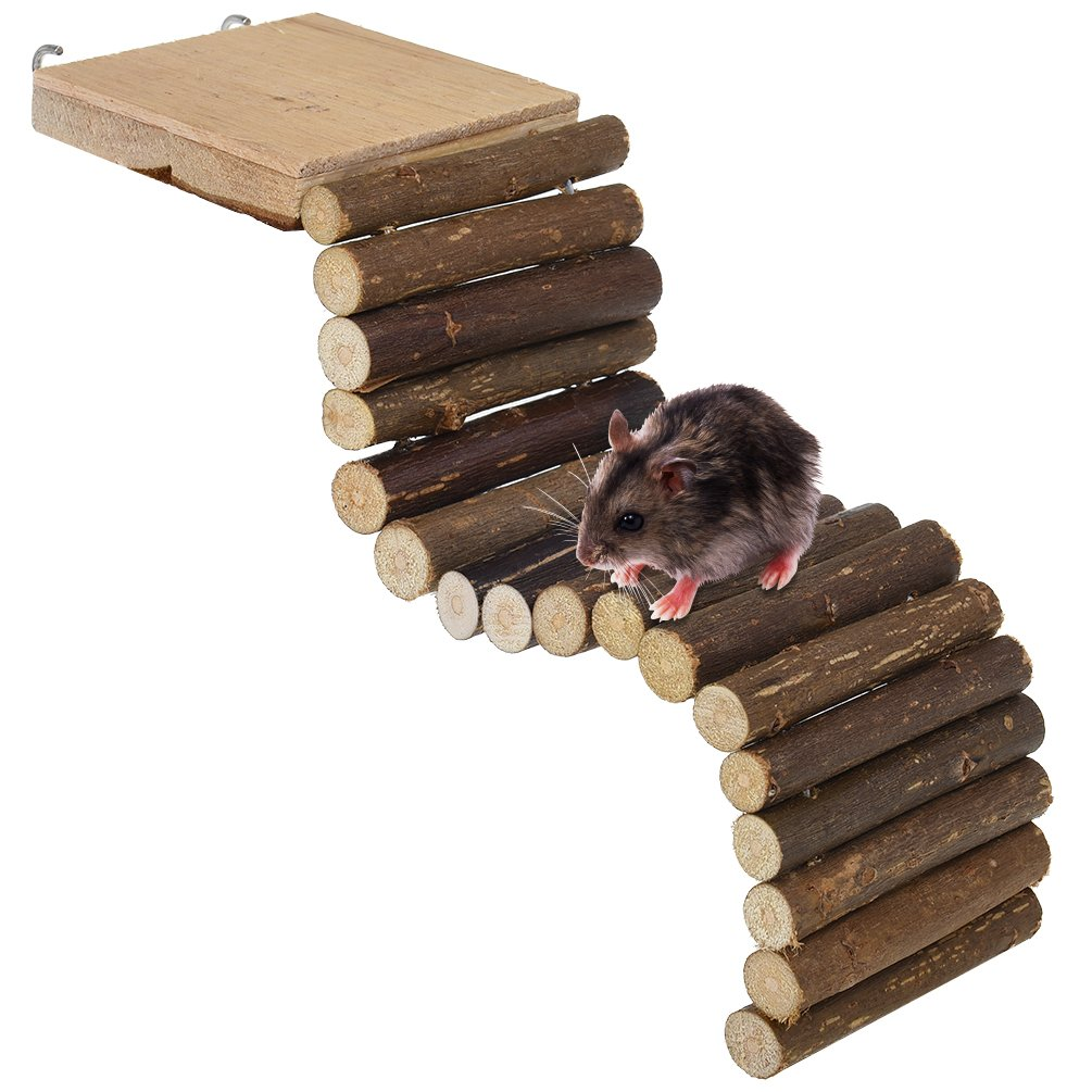 Petacc Hamster Ladder Wooden Pet Bridge Toy Funny Small Animal Fence for Hamsters, Guinea Pigs and Parrots, 11'' Long