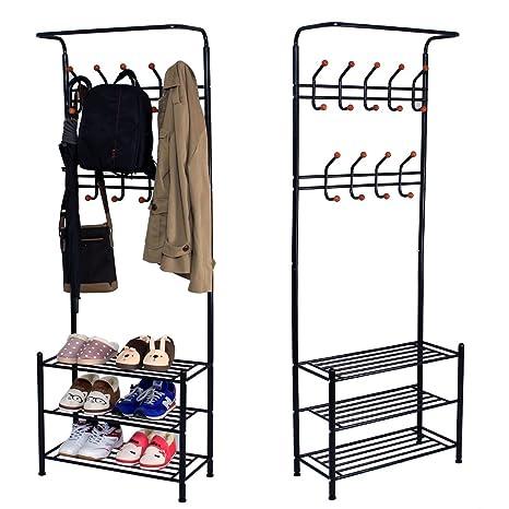 Sungle® Perchero burro de hierro con estante para colgar ropa, sombrero, bolsos, paraguas (negro)
