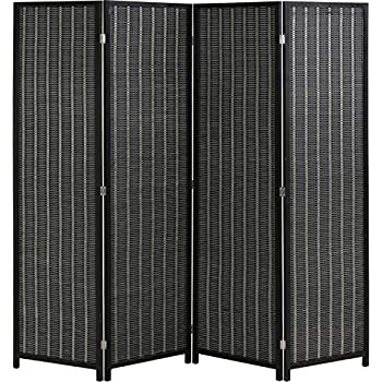 FDW Folding Privacy Screen 4 Panel 72 Inches High 17.7 Inches Wide Divider Living Room Bedroom Study, Black