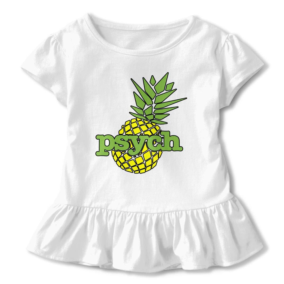 Psych Pineapple Toddler Baby Girls Cotton Ruffle Short Sleeve Top Basic T-Shirt 2-6T