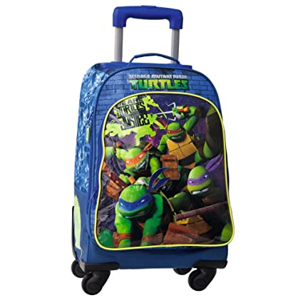 Tortugas Ninja Mochila con Carro, 4 Ruedas, Azul