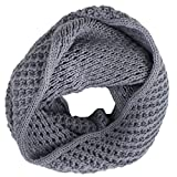 eFuture(TM) Grey Women Stylish Winter Warm Chunky Knit Infinity Soft Loop Scarf +eFuture's nice Keyring
