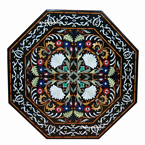 60 Inches Black Dining Table Top Sofa Table Center Table top Mosaic Art Handmade Work from Indian