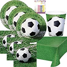 Sports Fanatic Soccer Party Supplies Pack Serves 16: Dinner Plates, Luncheon Napkins, Cups, and Birthday Candles
