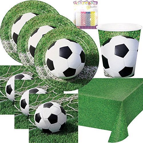 Sports Fanatic Soccer Party Supplies Pack Serves 16: Dinner Plates, Luncheon Napkins, Cups, and Birthday -