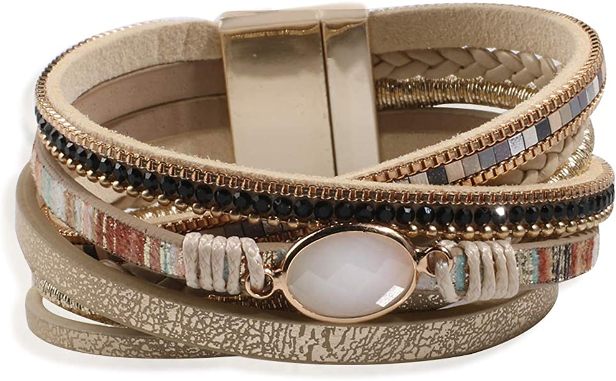 Artilady Leather Wrap Bracelet for Women - Handmade Clasp Bangle Bracelet with Pearl Druzy Crystal Wristbands Jewelry Gift for Sisters, Teen Girls and Mother