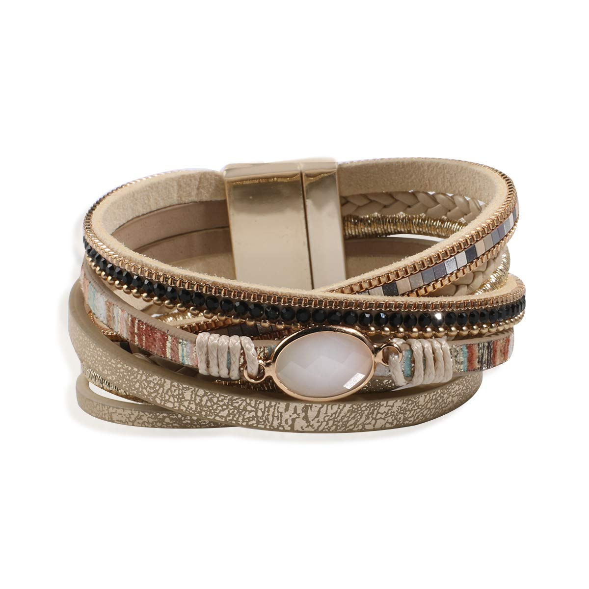 Artilady Leather Wrap Bracelet for Women - Handmade Clasp Bangle Bracelet with Pearl Druzy Crystal Wristbands Jewelry Gift for Sisters Teen Girls and Mother