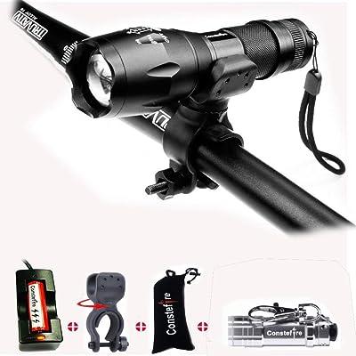 Constefire Linternas, Ultra Brillante LED Linterna (XML T6,1200 lm,5 Modos,Zoom, resistente al Agua) Táctica LED Antorcha Lámpara Con 3000 mah 18650 batería Recargable y cargador & MINI Linterna