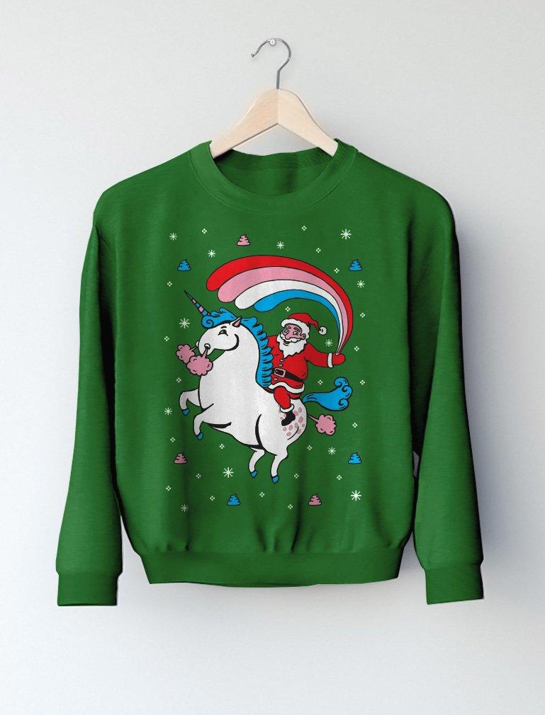 Santa Riding Unicorn Rainbow Ugly Christmas Toddler Kids Sweatshirt 7