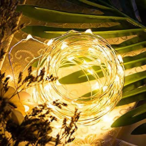 6 Pack Fairy Lights 7 Ft 20 LED Firefly Lights Battery Operated String Lights Silver Coated Copper Wire Starry Moon Lights for DIY Wedding Bedroom Indoor Party Decoration (Warm White)