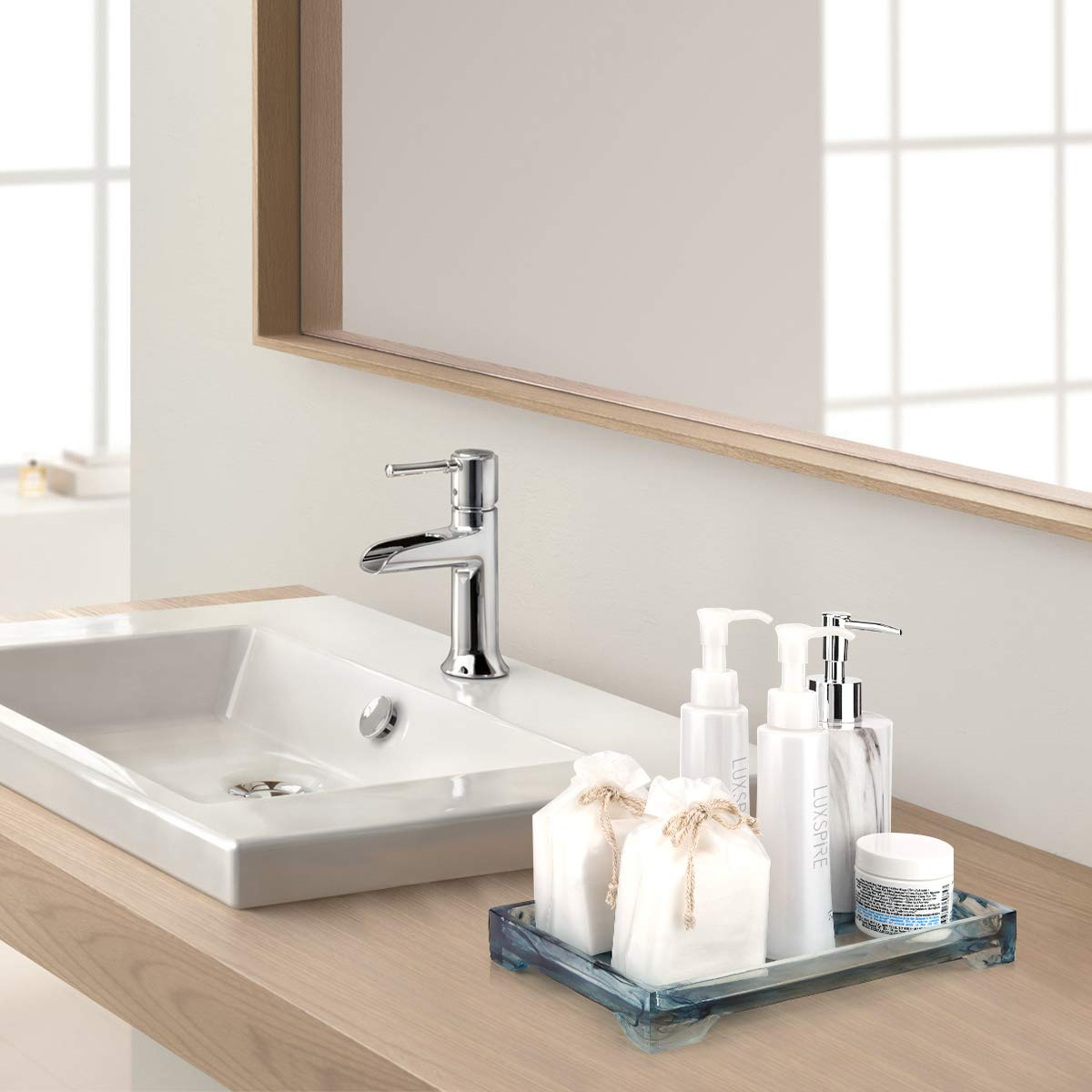 Towel Blue Ink Soap Vanity Organizer for Tissues etc Candles Medium Size Toilet Tank Storage Tray Resin Bathtub Tray Bathroom Tray Marble Pattern Tray Luxspire Vanity Tray Plant
