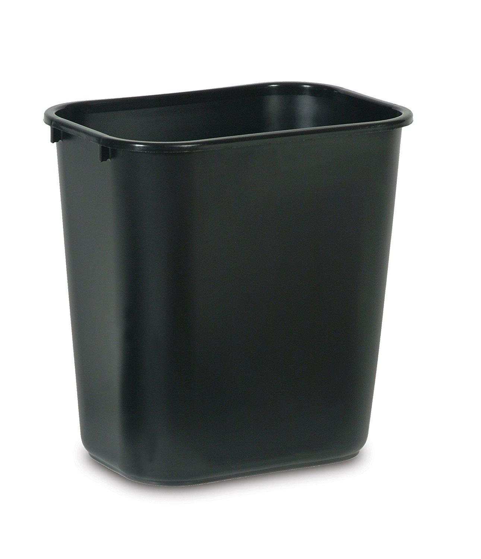 Rubbermaid Commercial Products FG295600BLA Plastic Resin Deskside Wastebasket, 7 Gallon/28 Quart, Black (Pack of 12) by Rubbermaid Commercial Products
