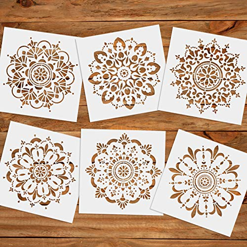 CODOHI 6 Packs Mandala Wall Tiles Stencils(12x12 Inch) Laser Cut Resuable Stencils for Floor Furniture Painting DIY Art Home Decor- Large Size (Table Patio Mosaic Top Diy)
