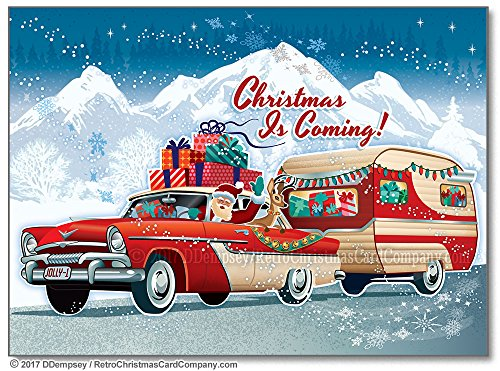 Santas Vintage Camper Christmas Cards - 8 Cards And Envelopes made our list of Over 100 Ideas For This Holiday Season For Christmas Gifts For Campers And RV Owners!