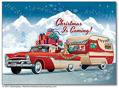 Vintage Santa Christmas Card - Santas Vintage Camper Christmas Cards, Package of 8