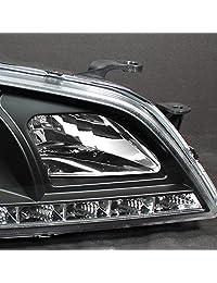 Lexus Altzza IS300 Negro Bisel Halo Proyector DRL luz de día LED con par repuesto de faro