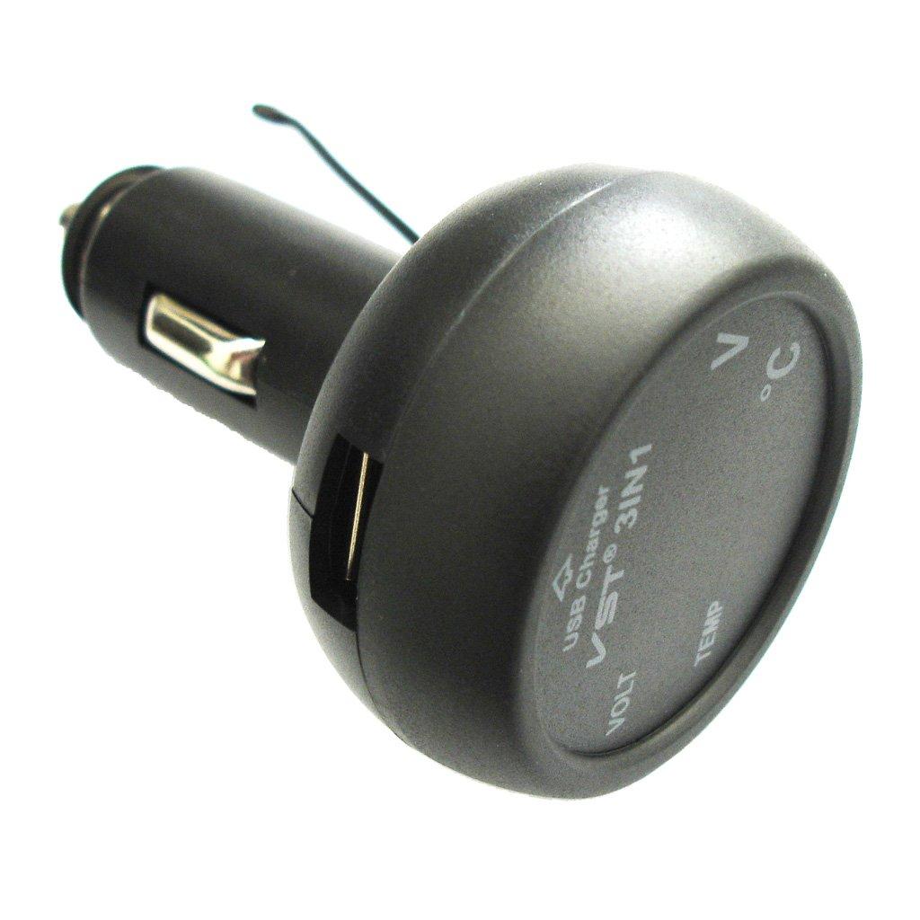 3 in1 Verde LED Voltmetro Termometro E Caricabatterie USB Digital da Auto 12V 24V