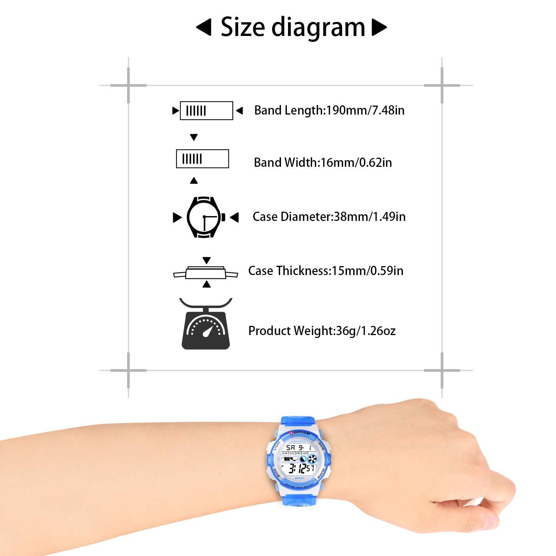 Socico Niños Digital Relojes para Niños Deportes-5 ATM Reloj Deportivo Impermeable al Aire Libre con Alarma Cronómetro,Relojes de Pulsera Electrónicos para ...
