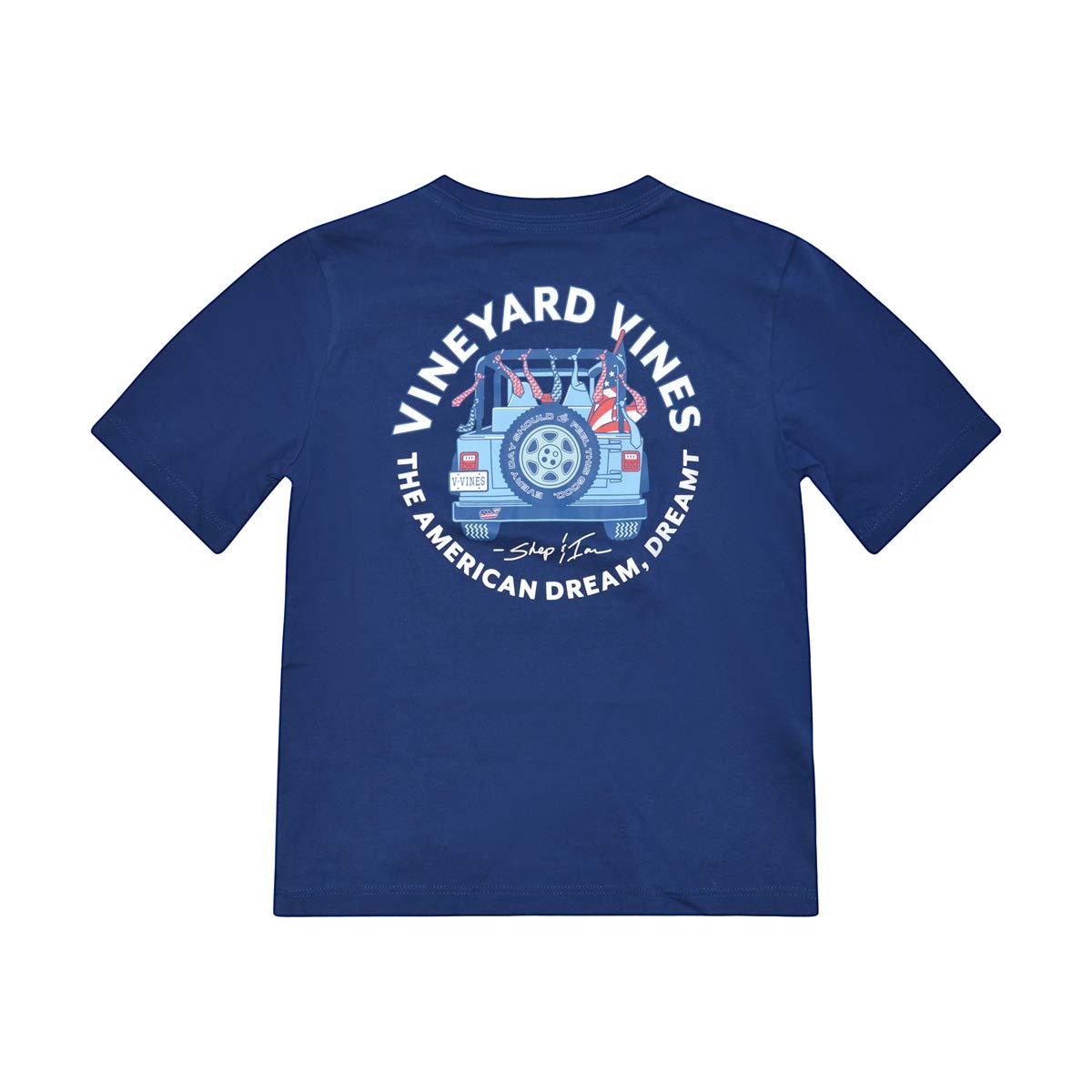 Vineyard Vines Boy's Short Sleeve Graphic Pocket T-Shirt (American Dream Blue Depth, XL)