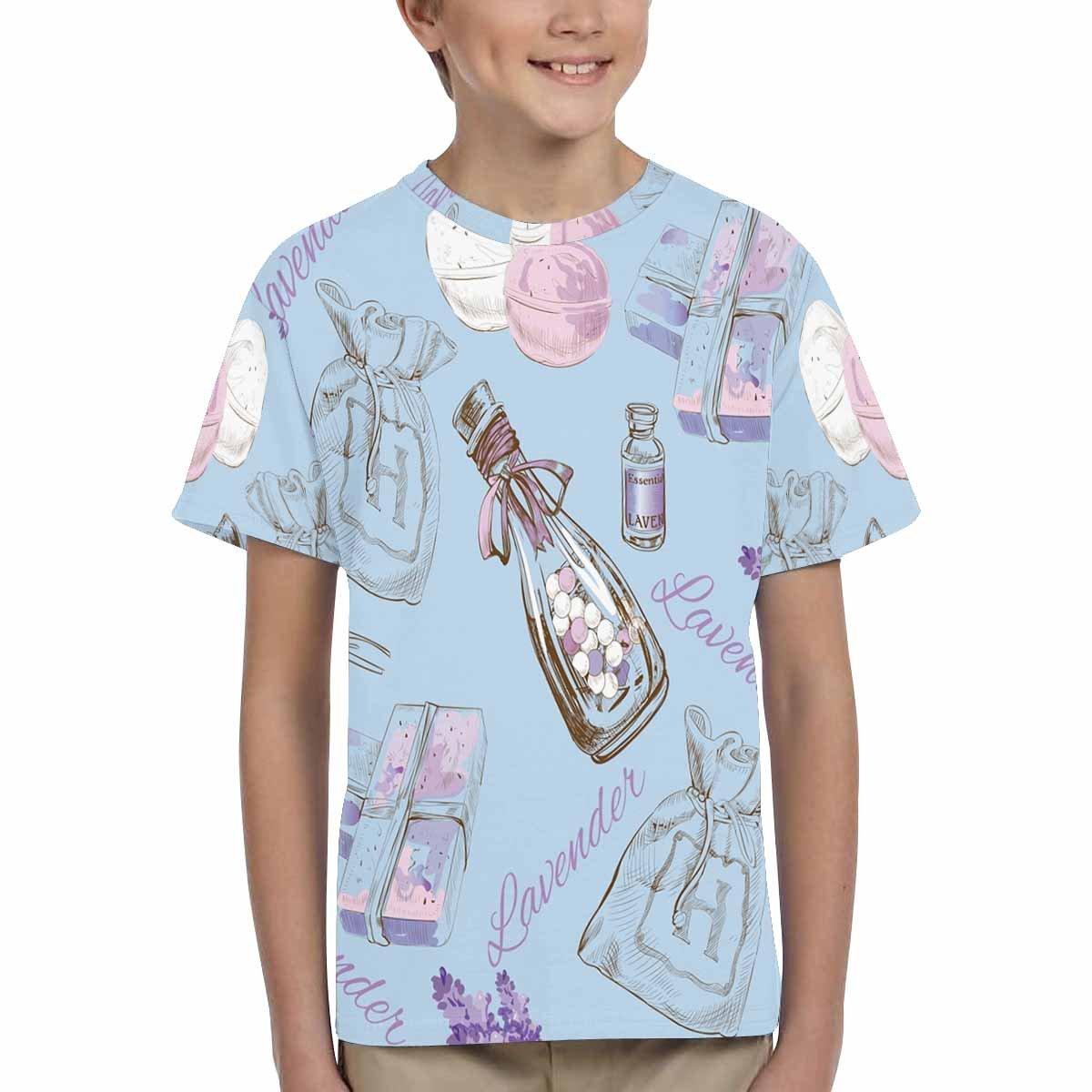 XS-XL INTERESTPRINT Youth Crew Neck T-Shirt Lavender Pattern