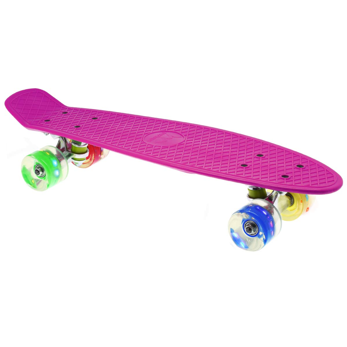 Merkapa 22'' Complete Skateboard with Colorful LED Light Up Wheels for Beginners (Pink)