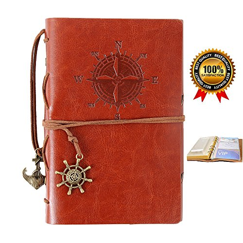 Refillable Leather Notebook,Travelers Journal with pockets,Diary Notebook ,Vintage Journals to write in for women and men,Bonus Plastic Zipper Pocket and Card Holders,7 (Refillable Leather)