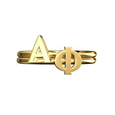 amazoncom a list greek stack rings alpha phi greeks letters personalized ring adjustable band gold plated jewelry for sorority women girls