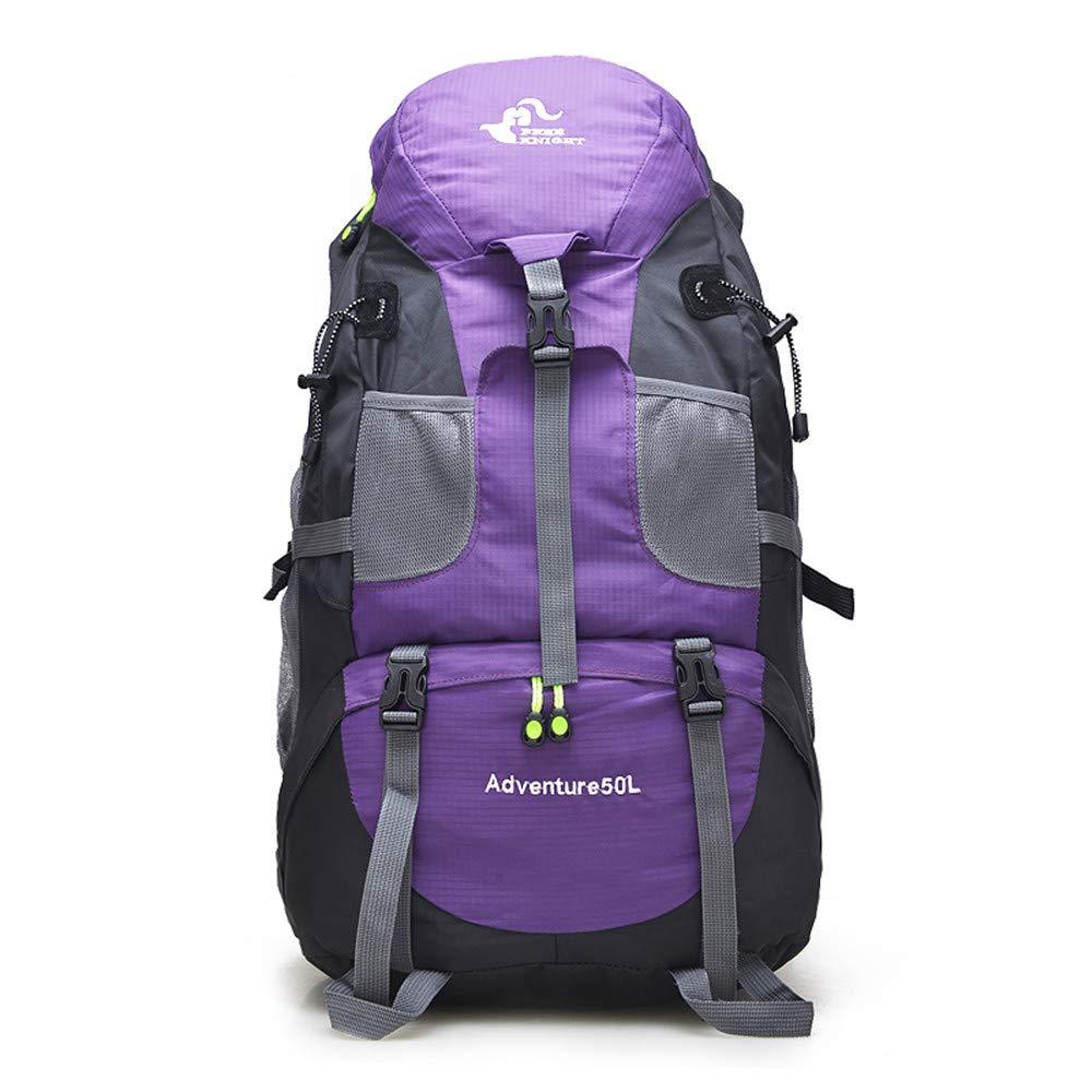 Sports Backpack, TechCode 50L Capacity Waterproof Trekking Mountaineering Backpack Adult Hiking Daypack Men Women Outdoor Rucksack Lightweight for Climbing Travel Camping Riding Travel Leisure(Purple) by TechCode