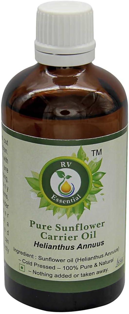El aceite de girasol | Helianthus annuus | Aceite semilla girasol | Para pelo | Para cocinar | Para rostro | 100% natural puro | Prensado en frío | Sunflower Oil |30ml | 1.01oz By R V Essential