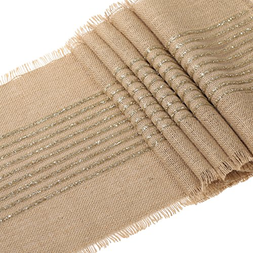 Fall bridal shower decorations amazon sparkly glitter champagne gold striped burlap table runner for rustic wedding bridal shower bacheloretter graduation party table decor decorations junglespirit Choice Image