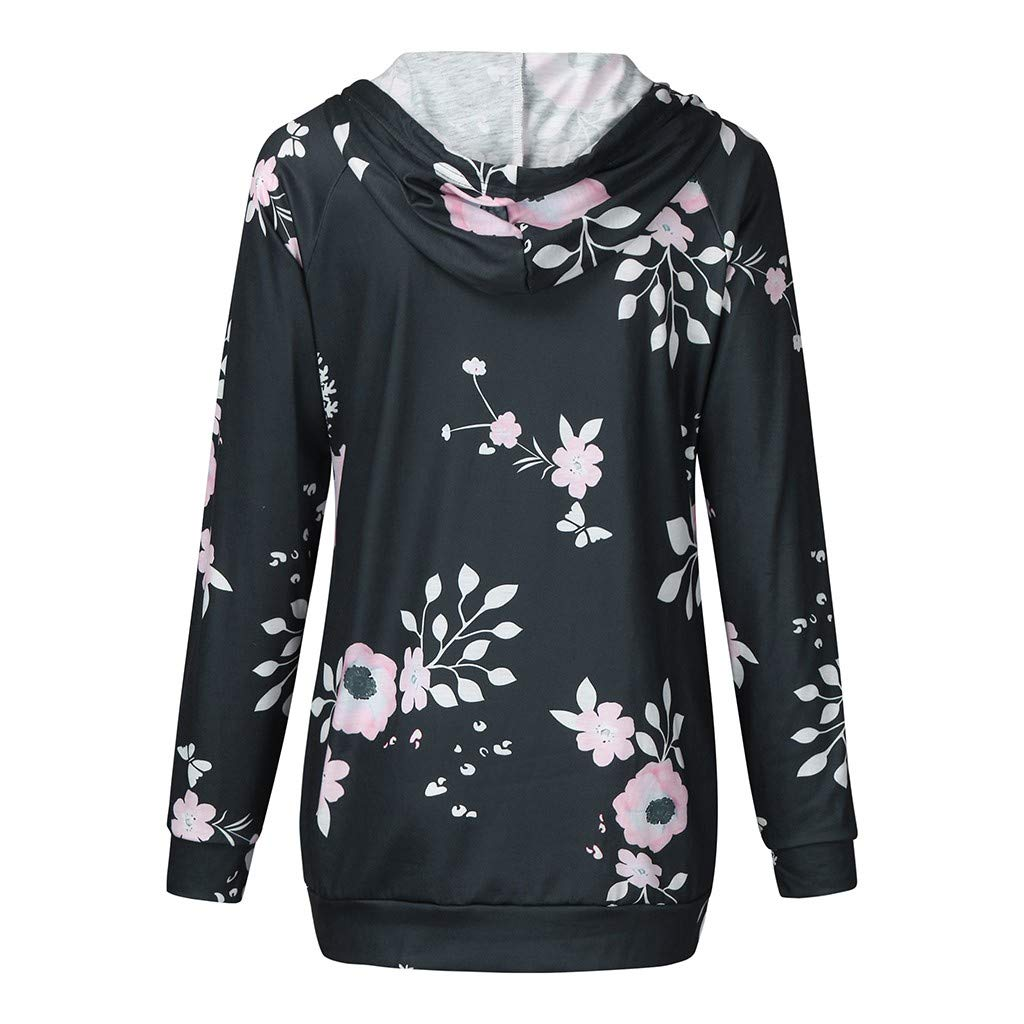 Womens Maternity Layered Nursing Tops Casual Floral Splice Hoodie Sweatshirts for Convenience Breastfeeding