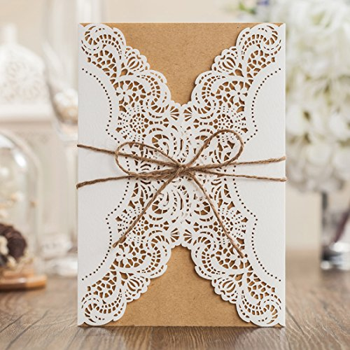 Wishmade Laser Cut Handmade Wedding Invitations Cards White 50 Pieces Kit for Marriage Engagement for Birthday Bridal Shower with Rustic Rope Envelopes Seals Party (Rustic Wedding Invitation Kits)