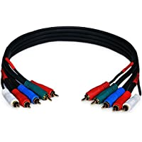 Monoprice 1.5ft 22AWG 5-RCA Component Video/Audio Coaxial Cable (RG-59/U) - Black
