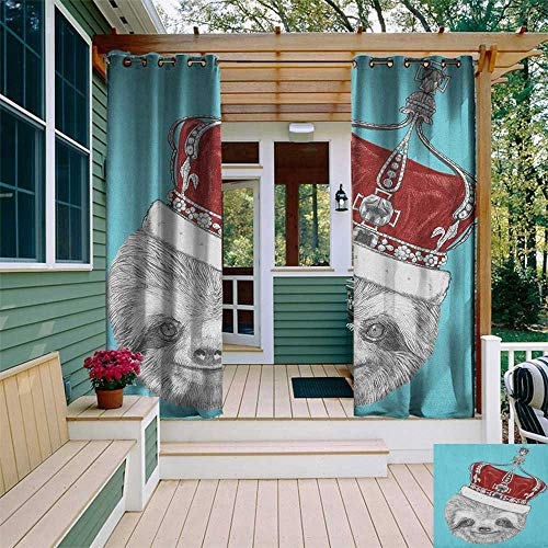 leinuoyi Sloth, Outdoor Curtain Modern, Cute Hand Drawn Animal with Imperial Ancient Crown King of Laziness Theme, Fabric W72 x L108 Inch Aqua Burgundy Grey ()