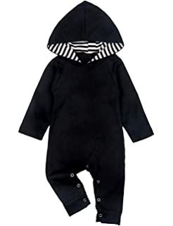 UNIQUEONE Newborn Baby Boys Girls Cartoon Hooded Romper Fall Winter Long Sleeve Jumpsuit