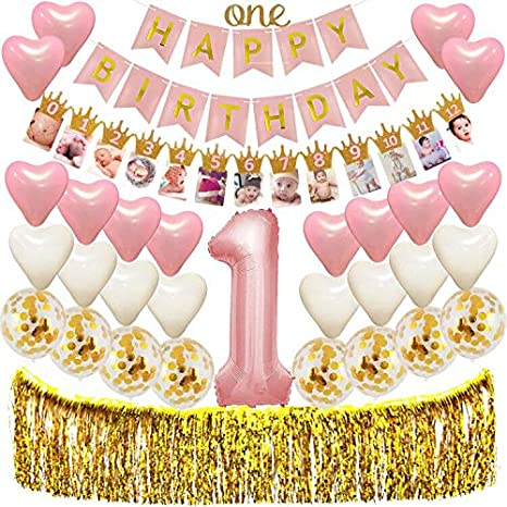 1st Birthday Decorations For Girls First Pink And Gold Theme Party Supplies Giant
