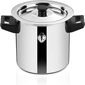 Butterfly Stainless Steel Premium Milk Pot Milk Boiler Milk Cooker Double Wall with Whistle and Funnel, 1 Litre, Silver