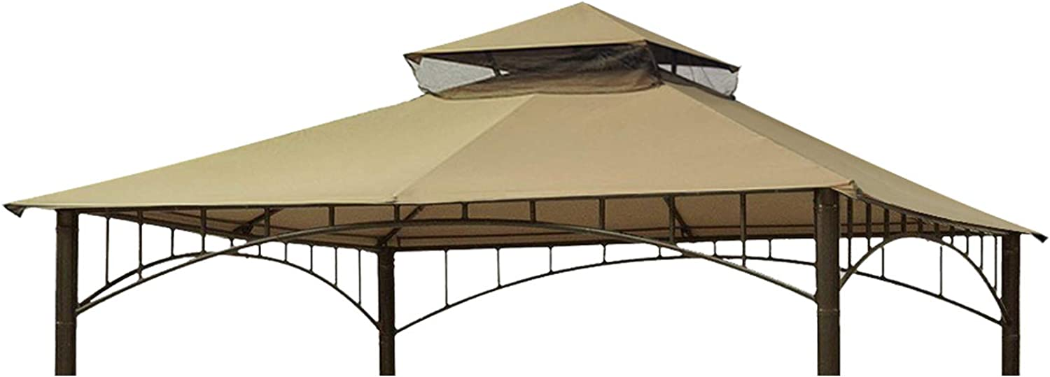 Eurmax 10FT x 10FT Double Tiered Gazebo Replacement Canopy roof Top Cover (Beige)