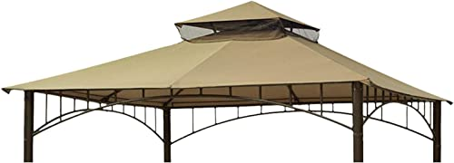 Eurmax 10ft x 10ft Double Tiered Gazebo Replacement Canopy Roof Top Cover Beige