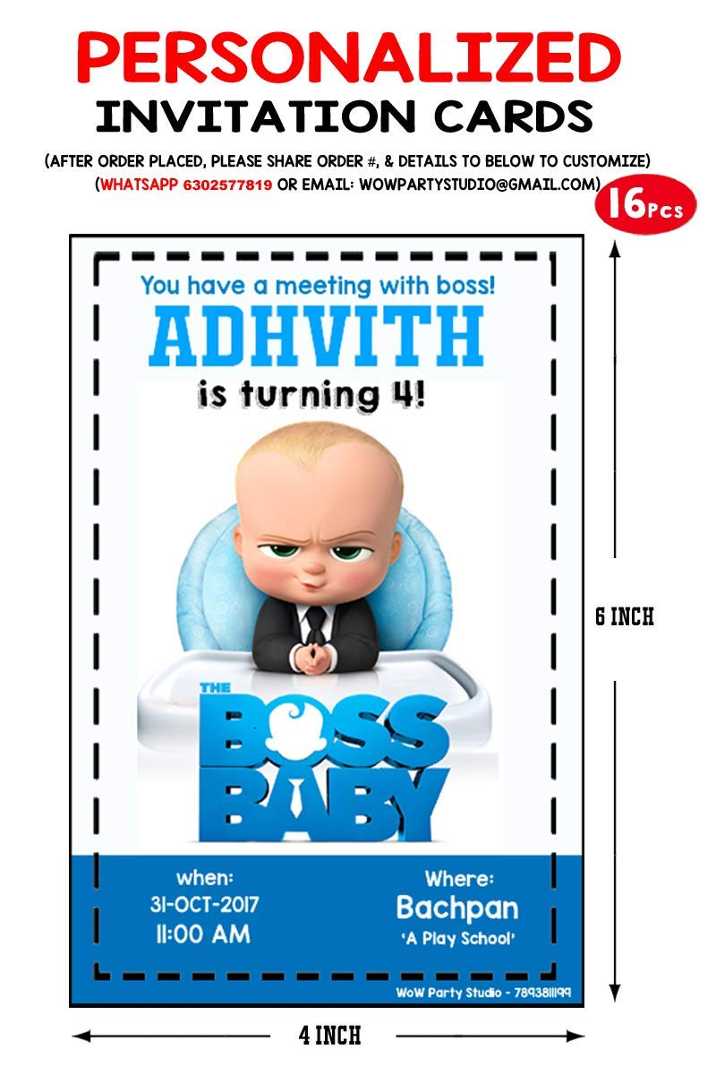 Wow Party Studio Personalized Boss Baby Theme Party Supplies With Birthday Boy Girl Name Invitation Cards