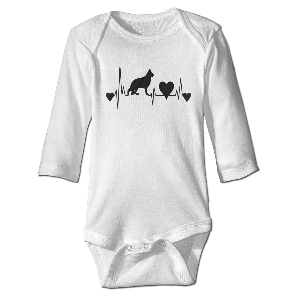 Baby Infant Toddler Romper Bodysuit Jumpsuit German Shepherd Heartbeat Long Sleeve Funny Jumpsuit Romper